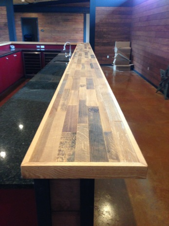 Detail of custom-made butcher block bar.