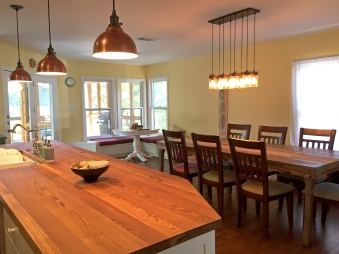 We installed pendant lights for a more industrial feel.